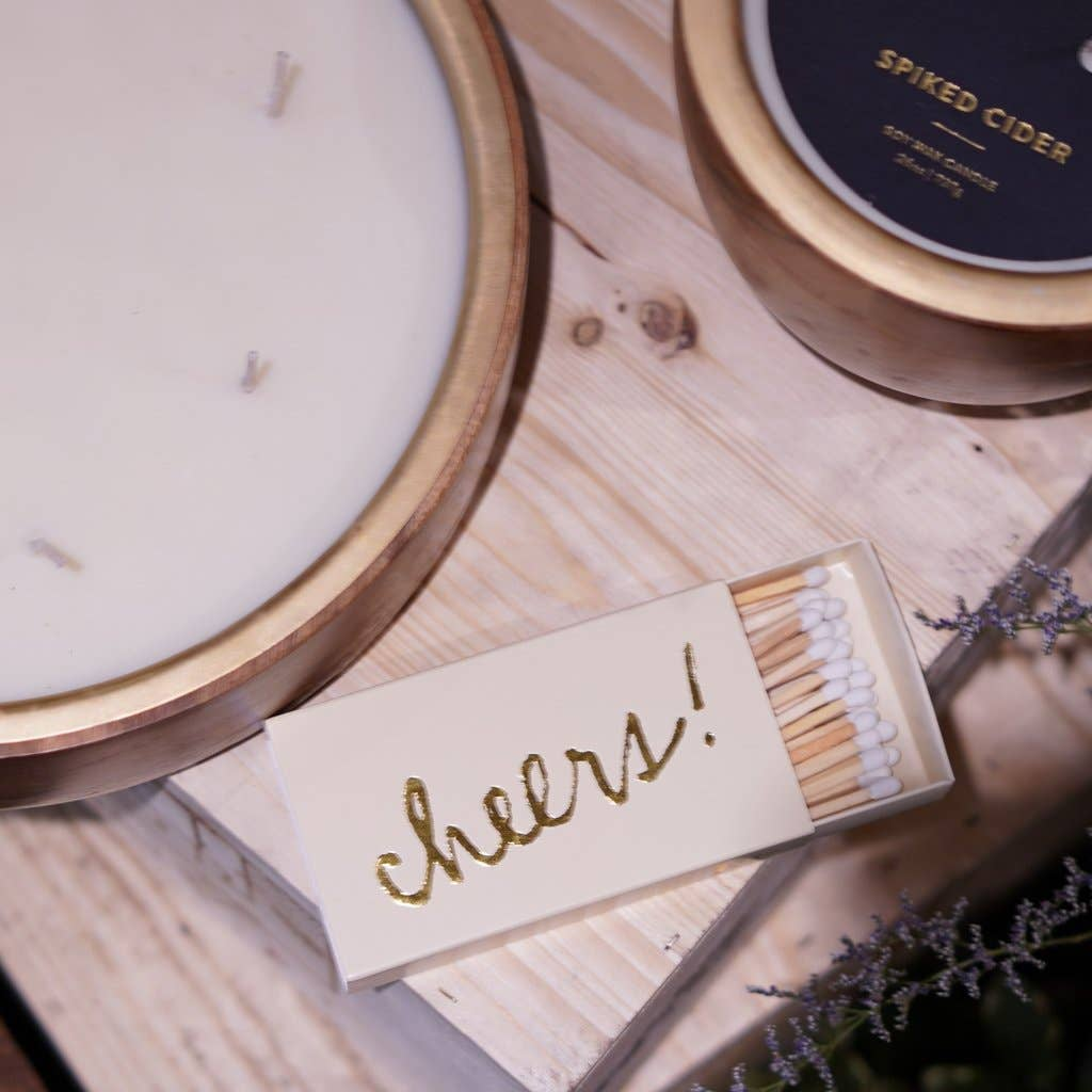 Gold Foil Cheers Matchbox