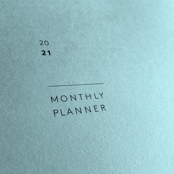 Mark+Fold minimal month planner, 2021 planner, sky blue, extract aqua
