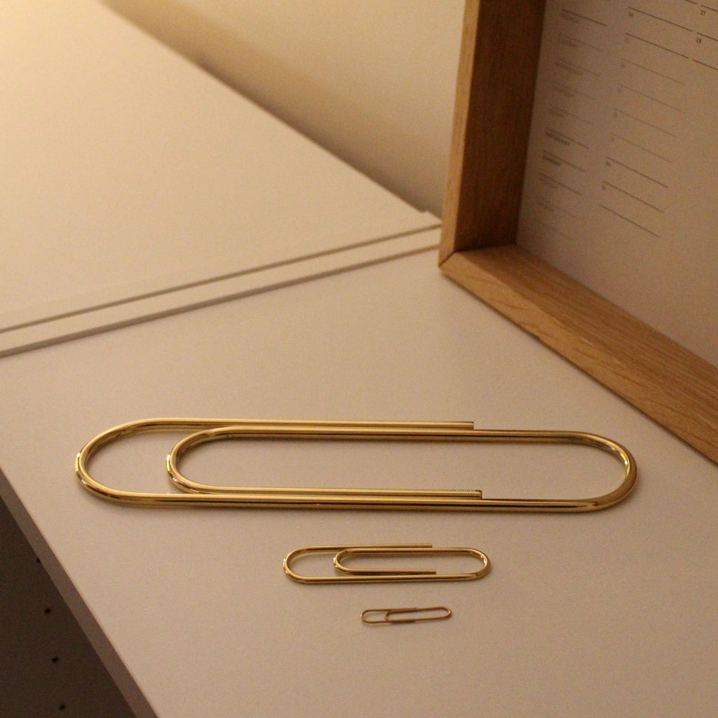 Carl Auböck Paperclip in Solid Brass, for Mark+Fold, luxury desk object, made in Vienna. Three sized: giant 22.5cm, small 7cm, regular paperclip 3cm