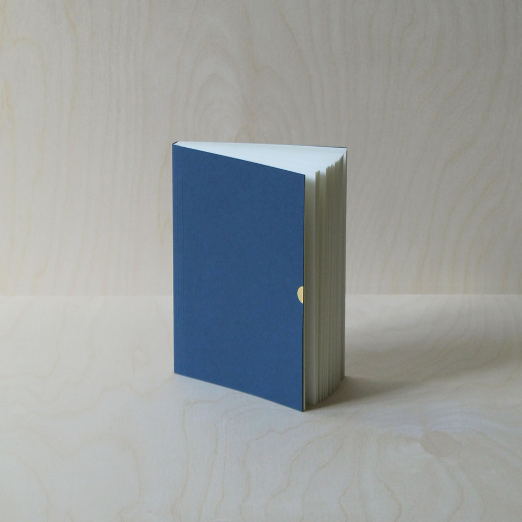 Mark+Fold notebook in Cobalt, laylflat notebook, plain pages, sustainably made sustainable eco stationery