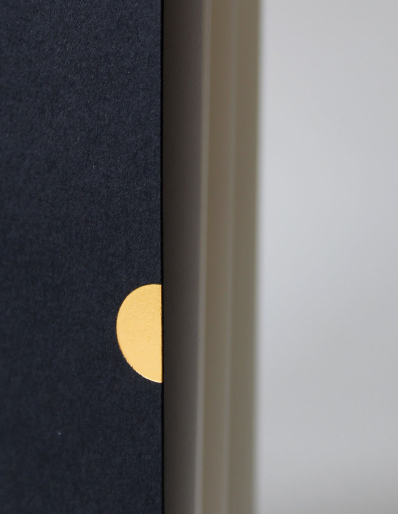 Detail of the Mark+Fold thumbcut motif, in gold foil on a black 30% cotton card stock. This is a detail of the Mark+Fold 2021 Diary in black, minimal diary layout week-to-view pages, by Mark+Fold the modern stationer.