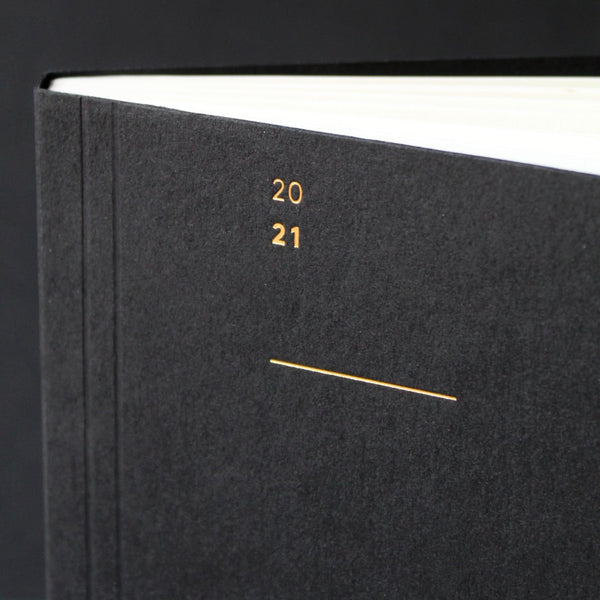 2021 Diary detail, gold foil detail, Mark+Fold 2021 Diary, minimal week-to-view diary layout