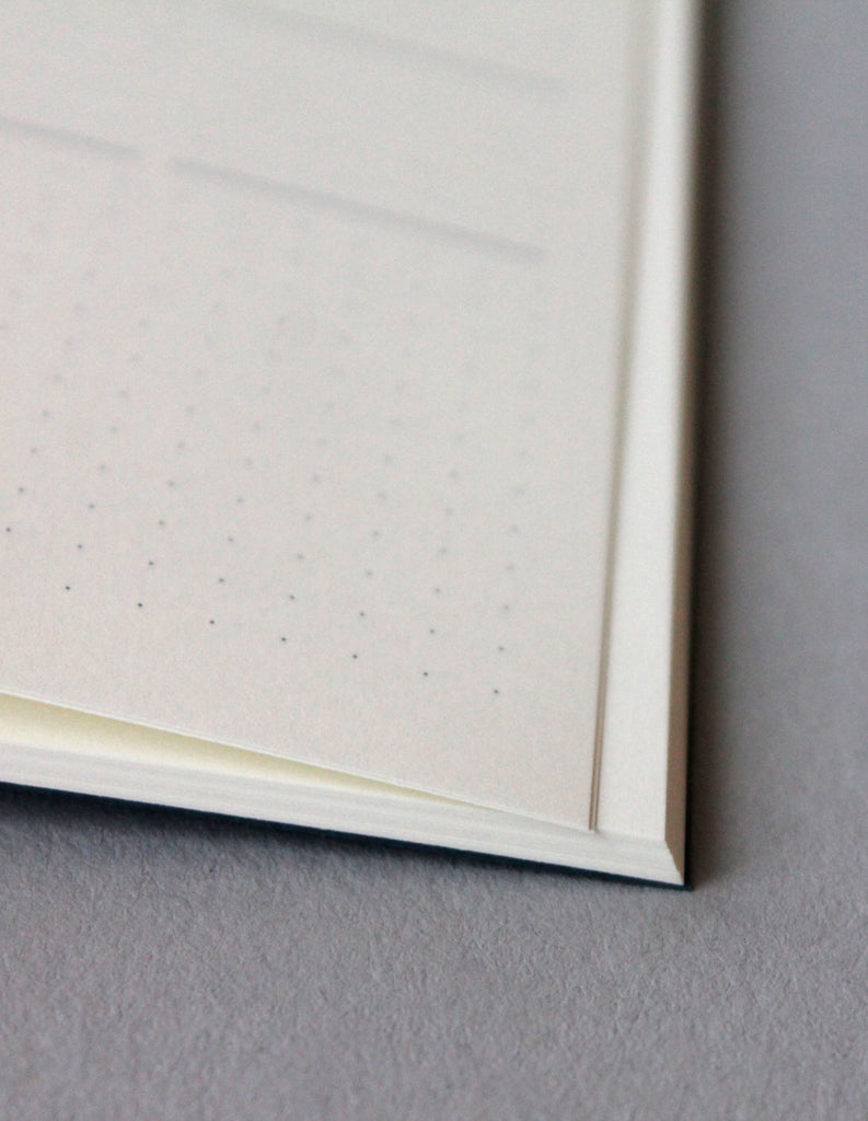 Detail of the Mark+Fold Diary, showing the dot grid section at the bottom of each week-to-view diary page