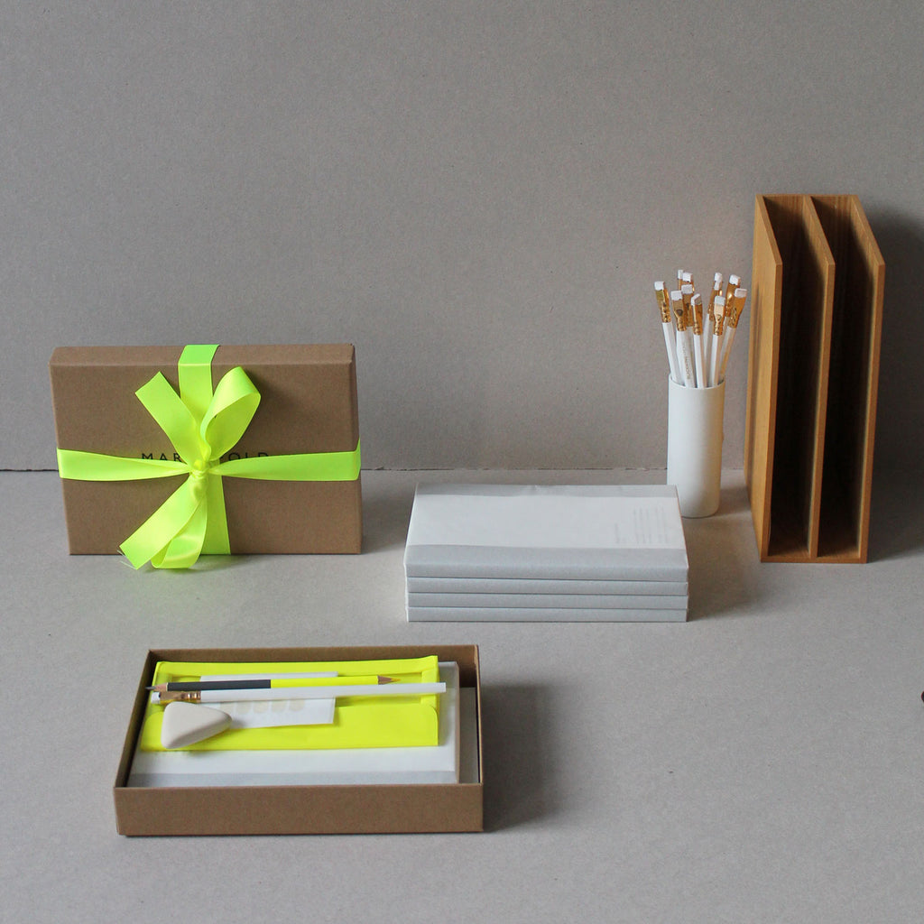 Neon Gift Box, Stationery Gift Box from Mark+Fold, luxury stationery, layflat notebook, fluoro, fluorescent, blackwing pearl