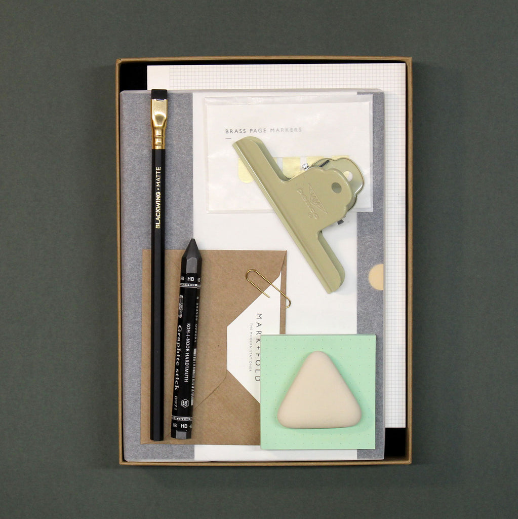 Mark+Fold Diary Gift Box 2021, includes minimal Diary, Grid pad, blackwing pencil, eraser, clampy clip and mini post it pad