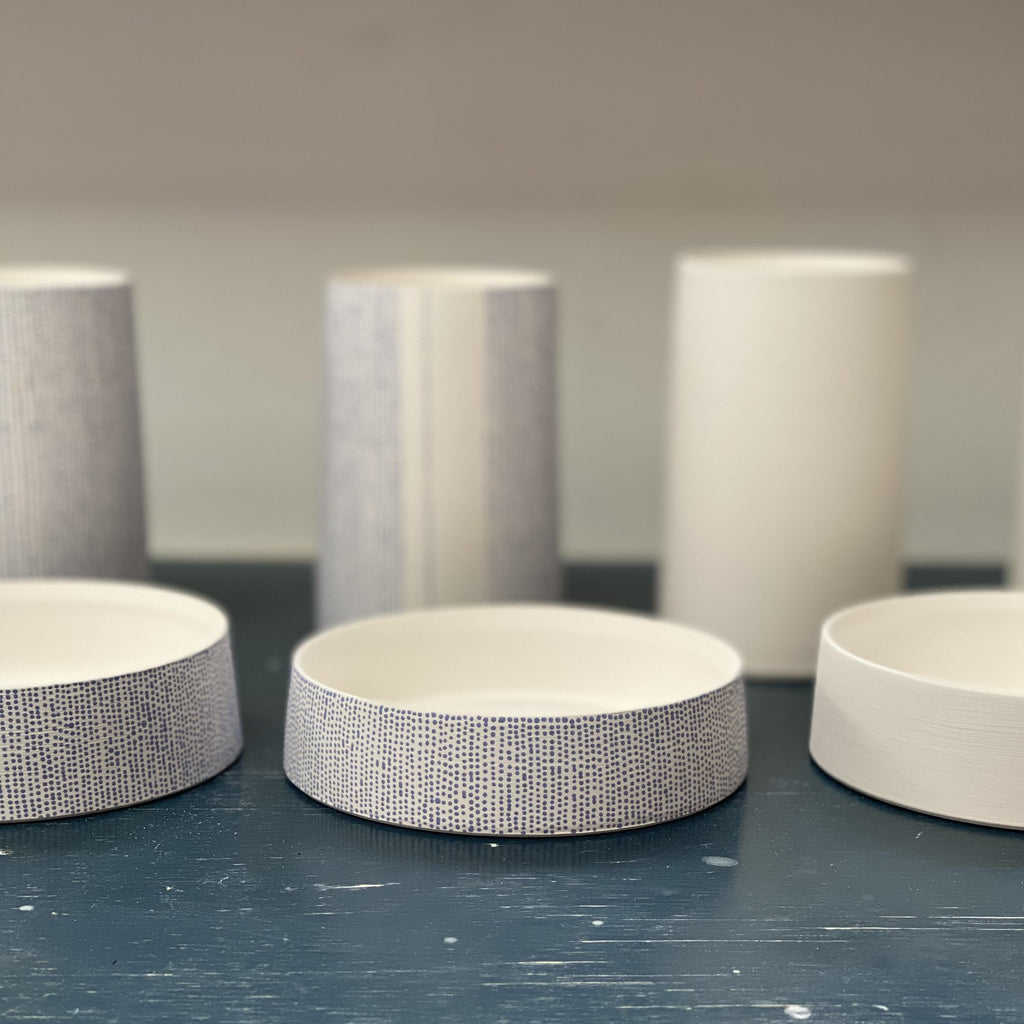 Tamsin Arrowsmith-Brown's pottery studio in Wood Green, North London, where she hand-throws her small-batch ceramics. These pen post and paperclip dishes were made specially for Mark+Fold the modern stationer, February 2021.