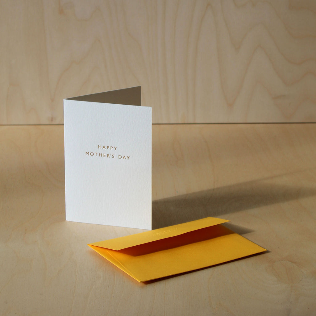Mothers Day UK 2021, GF Smith Envelope citrine, Mark+Fold Mothers Day Card, Mother's Day Card, Mothers' Day Card, Hand-printed, gold foil, printed in the UK, printed in London, hand-made, minimal