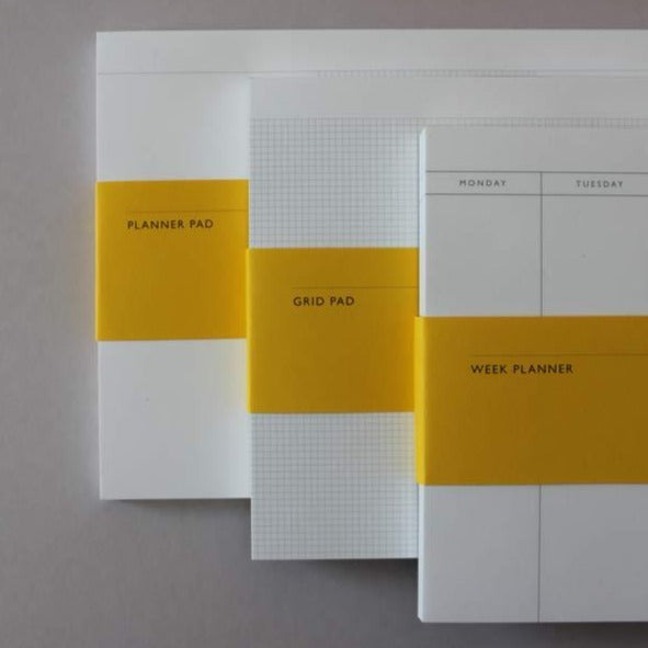 Mark+Fold Planner pad, Week planner, Grid pad. Desktop planner pads for immediate notes and sketches. By Mark+Fold the modern stationer, London. Printed in Scotland. Sustainably made paper FSC made in Scotland at Stoneywood Mill.