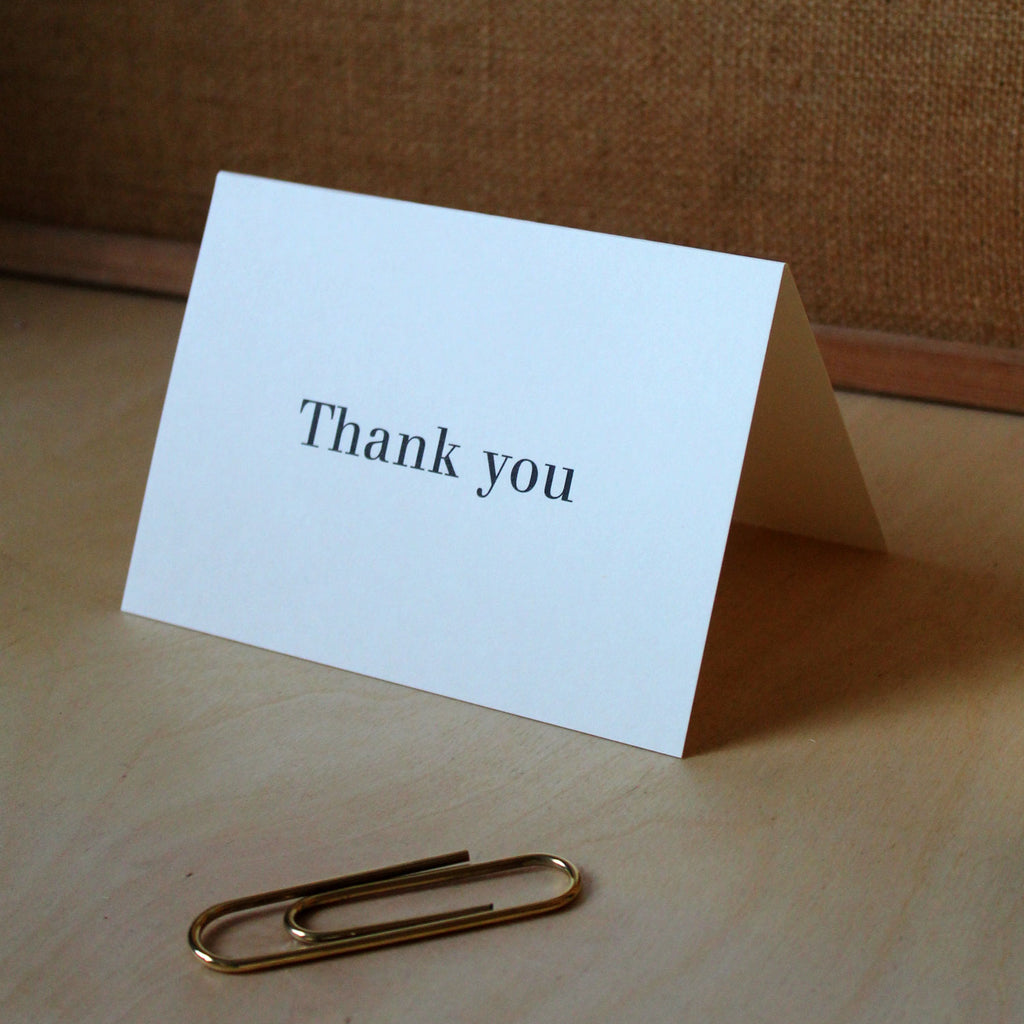 Mark+Fold Thank You Card, Walbaum typography, printed in Scotland
