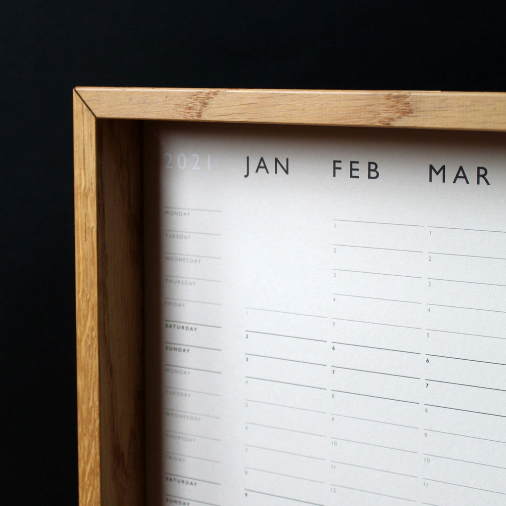 Minimal 2021 Wall Planner, designed and printed in London by Mark+Fold. Edition of 200, 2021 Year Planner. markandfold.com