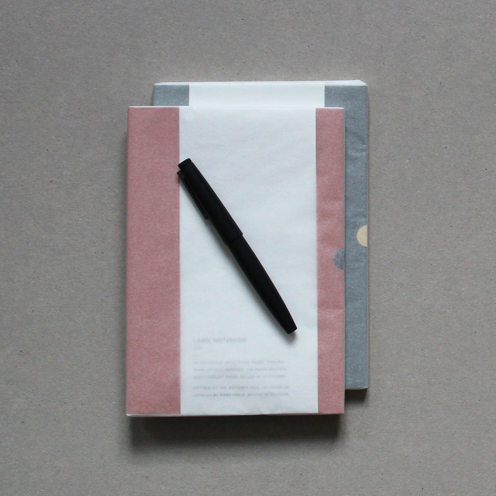 Mark+Fold Writer's Set — Lined Notebooks in Rust and Sequioa, Colorplan GF Smith, Lamy 2000 Fountain pen, Layflat binding, layflat noteboks