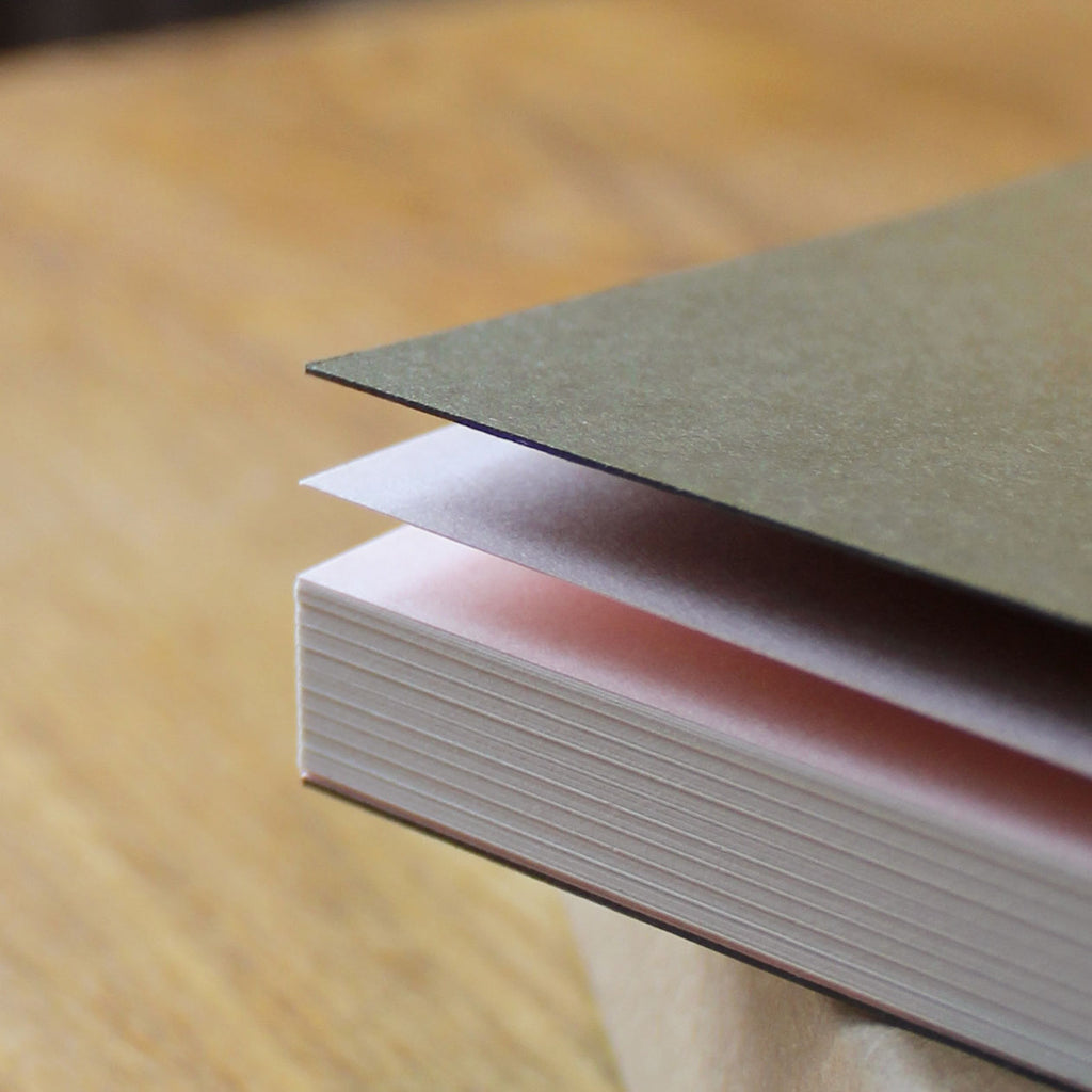 Khaki cover and pink end pages made from 'Extract' a paper made sustainably in Cumbria by James Cropper GF Smith, made from used coffee cups. UK papermill. Another Notebook is a collaboration between Mark+Fold and British furniture makers Another Country.