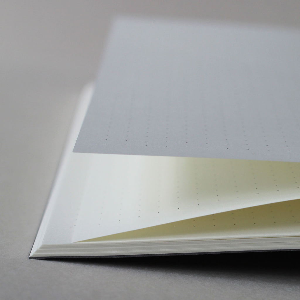 Mark+Fold dot grid pages. Mark+Fold is a modern British stationer, creating sustainable small-batch stationery that is exceptionally good quality. Olin 120gsm smooth cream paper suitable for fountain pen, made in Scotland.