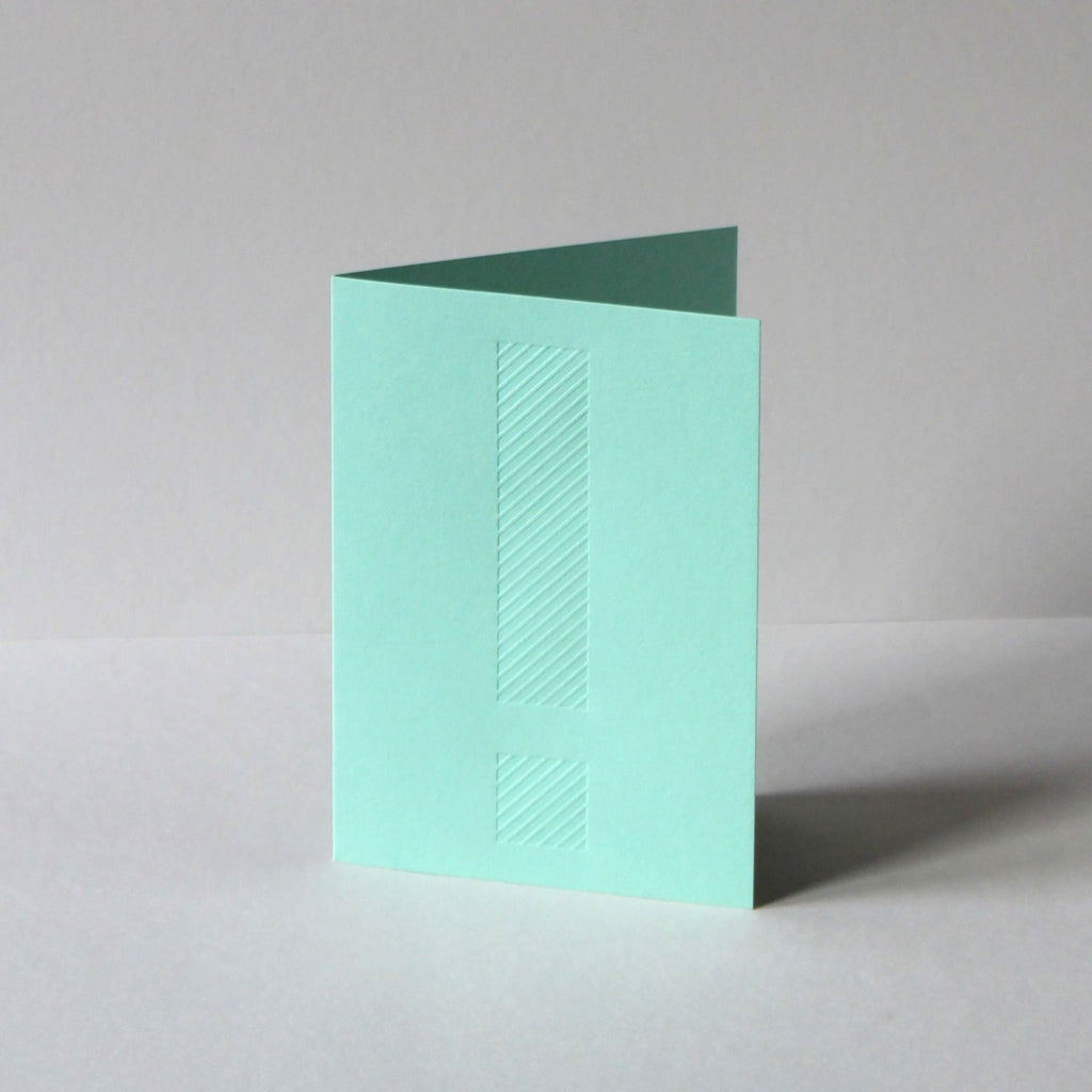 Colorplan park green, blind deboss, exclamation card by Mark+Fold