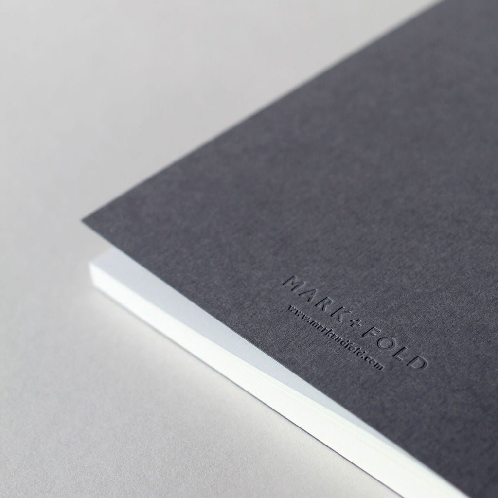 Mark+Fold logo in blind deboss on the back cover of the Notebook Mark Three, batch 1, October 2019.