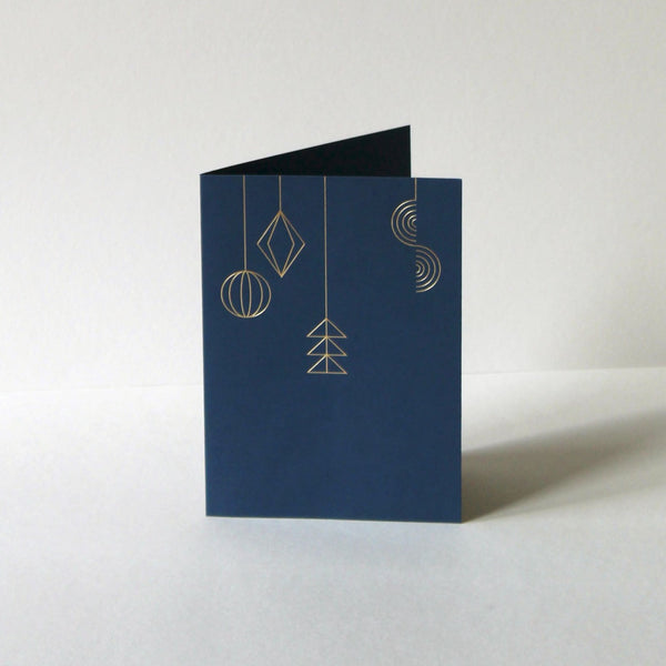 Mark+Fold Christmas card, Pendant card inspired by retro Christmas decorations ornaments and seaside wind toys, Christmas cards 2021, Christmas cards printed in the UK, Christmas cards made in the UK