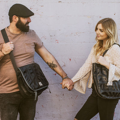 Couple With Upcycled Bicycle Tube Bags