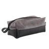 Elliott Dopp Travel Kit Waxed Canvas handle zippered vegan made in USA open toiletries essentials right perspective closed