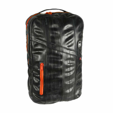 Brooklyn mandarin orange rubber tube upcycled recycled backpack made in USA