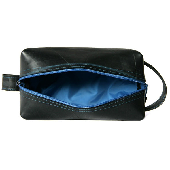 Elliott Travel Kit large toiletry shave bag upcycled usa vegan grooming top open electric blue interior