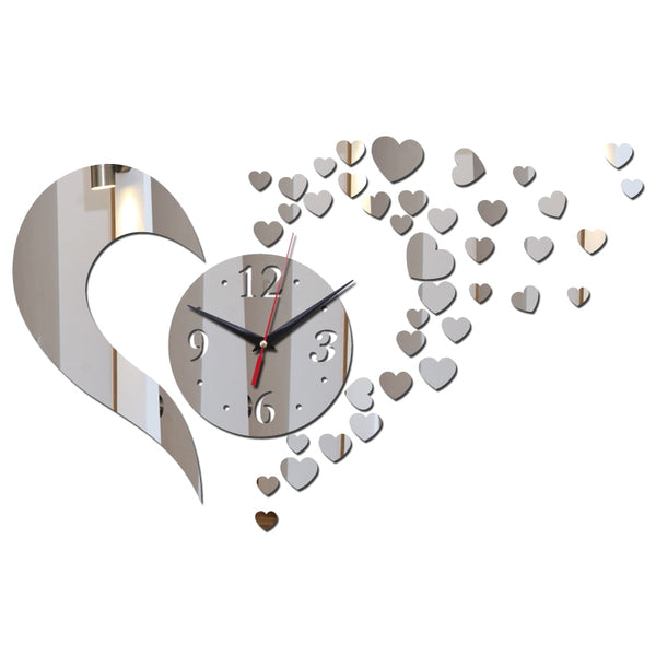 Heart Wall Clock - DIY Mirror Wall Clock