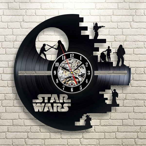 Vintage Vinyl Record Wall Clock - Star Wars Inspired Wall Clock