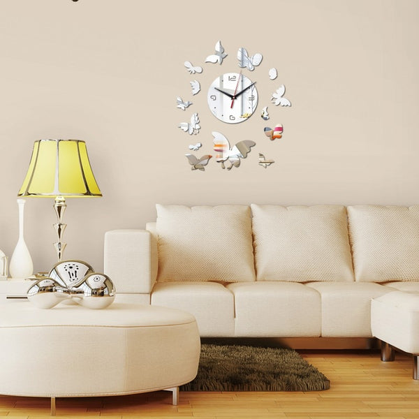 Butterfly Wall Clock - DIY Mirror Wall Clock
