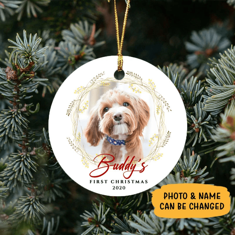 Dog First Christmas 2020 Customized Round Ceramic Ornament