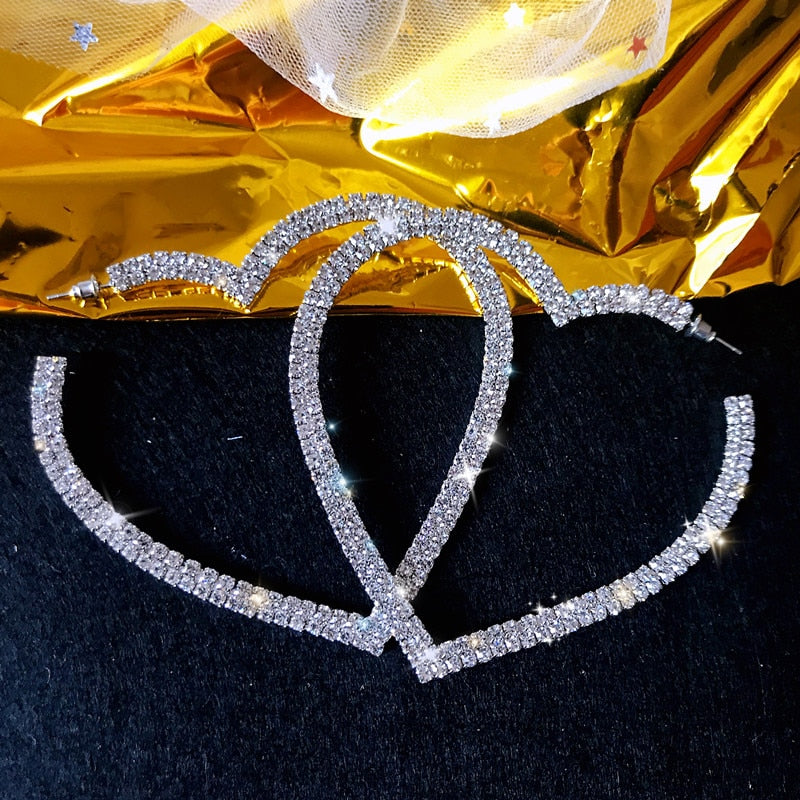 Heart Crystal Hoop Earrings