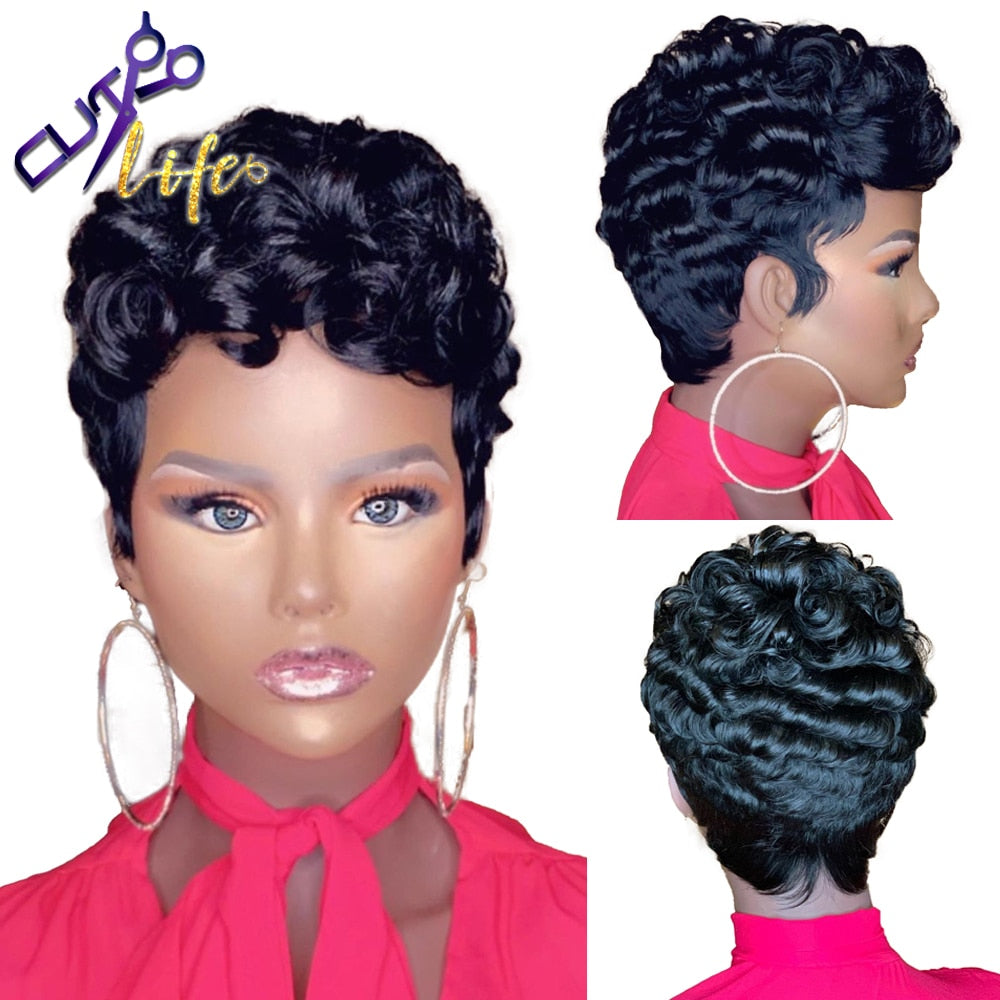 Short Curly Pixie Cut Wig