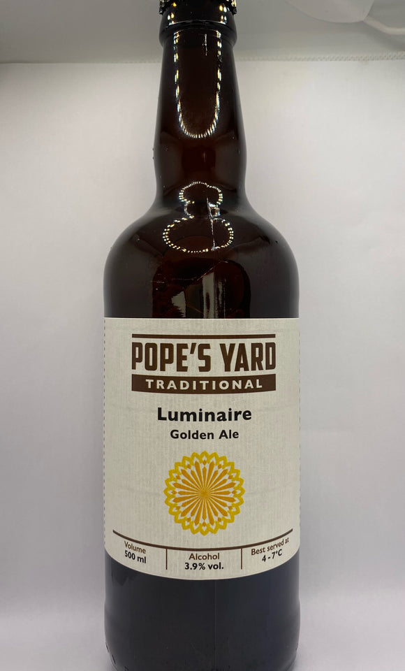Pope's Yard - Luminaire - Golden Ale - 3.9%ABV - 500ml Glass Bottle