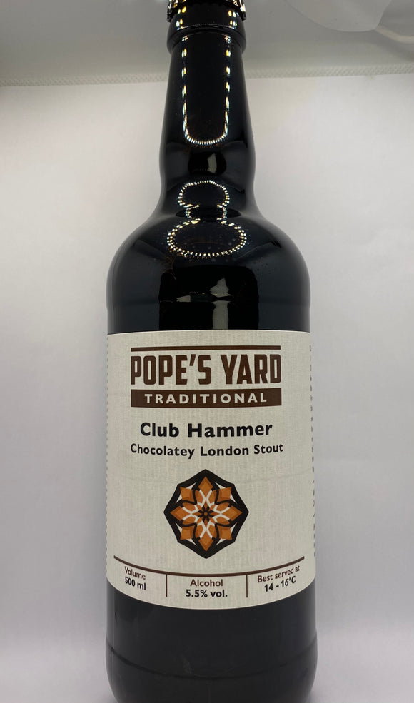 Pope's Yard - Club Hammer - Chocolatey London Stout - 5.5%ABV - 500ml Glass Bottle
