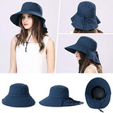 UPF 50 Sun Hats for Women Wide Brim Packable with Neck Protection Navy