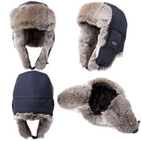 100% Rabbit Fur Navy Bomber Hat with Ear Flaps and Mask