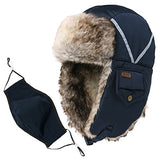 Winter Windproof Oliver Faux Fur Bomber Hat with Ear Flaps and Mask