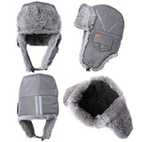 Winter Windproof 100% Rabbit Fur Grey Bomber Hat with Ear Flaps and Mask