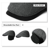 Winter Black Wool Newsboy Cap with Earflap