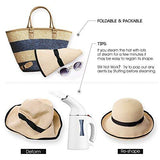 Women Summer Beach Wide Brim Fedora Travel Straw Sun Hat Beige