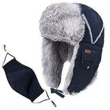 Winter Windproof 100% Rabbit Fur Navy Bomber Hat with Ear Flaps and Mask