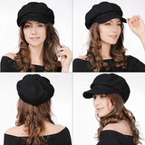 Women's Merino Wool Visor Beret Newsboy Cabbie Cap Winter Hats Black