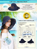 Wide Brim Summer Sun Flap Bill Cap Women Cotton Hat Neck Cover Navy