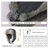 Unisex 100% Rabbit Fur Trapper Grey Ushanka Russian Bomber Hat