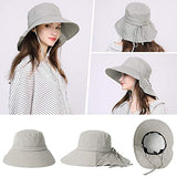 UPF 50 Sun Hats for Women Wide Brim Packable with Neck Protection Gray