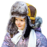Kids Mad Bomber Cotton Yellow Faux Fur Bomber Hat