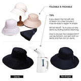 UPF 50 Sun Hats for Women Wide Brim Packable with Neck Protection Beige