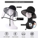 Womens UPF50+ Linen Cotton Summer Sunhat Bucket Hats With Face shield
