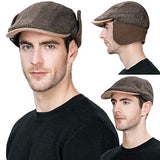 Winter Coffee Wool Newsboy Cap with Earflap