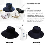 Sun Hats for Women Wide Brim UPF 50 Packable with Neck Protection Chin Strap Navy