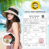 Summer Beach Straw Women Hat Foldable UPF 50 UV Sun Protection Beige