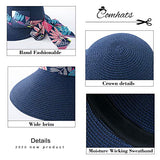 Bucket Straw Sun Hat Bow Knot Back Fashion Visor UV Protection Ladies Navy Blue